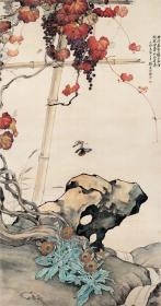 刘奎龄-花蝶葡萄图。纸本大小51.2*97厘米。宣纸艺术微喷复制。130元包邮