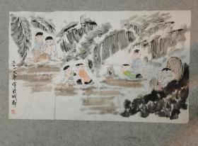 成都老画家 国画人物 童趣 原稿手绘真迹 画心软片