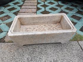 清代或民国 汉白玉 水仙盆,长约30厘米,重几十斤。规矩平正,文房重器。