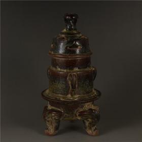 茶叶末釉青瓷三足香炉