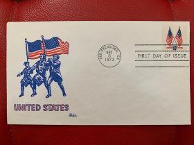 美国十三星五十星双国旗邮票首日封