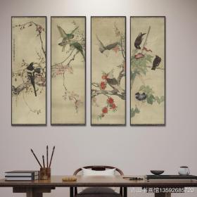 刘奎龄 花鸟四条屏。共4张,每张大小约32.5*103.3厘米。宣纸艺术微喷复制。画芯
