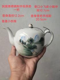 民国景德镇制手绘浅降山水茶壶一把