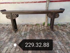 清代,精品老榆木独板条案,两面云牙完整,档部雕刻凤凰穿牡丹,全品尺寸229.32.38