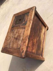 清代 做生意用的 钱柜 完整 上面包铜角 榆木