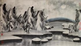 于志学冰雪山水画一幅,自然老旧,68厘米//120厘米