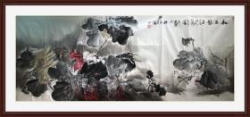 著名画家黄胜民小六尺花鸟作品。