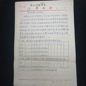 1959年•农业气候调查•鄄城县气象站 编•手写本!