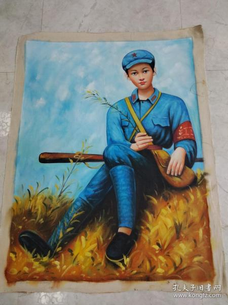 旧藏抗战女兵肖像油画,画工一流,回忆历史,时代特色明显,红藏必备,尺寸130*100厘米。800一幅