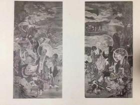 绝版 缘山聚珍罗汉帖 一册全,葛麻(?)封面。内收大德寺关联罗汉图一百图,为研究罗汉图不可缺少之资料。是品为1911年的初版,当时非卖品,尺寸:25cm*37cm。