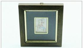 【西洋银器 古董收藏 系列之三 1920年左右意大利米兰产乡村人物风光珐琅纯银画】