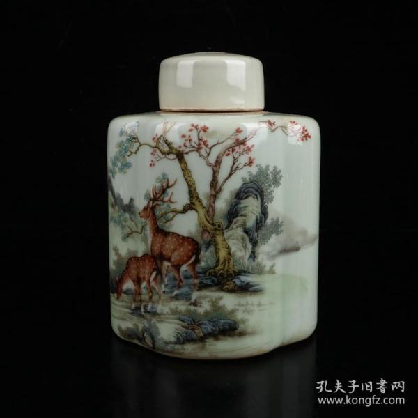 粉彩鹿纹茶叶罐 高14cm宽10.5cm