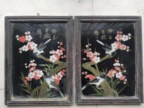清代梅占百花魁手绘玻璃画一对,画工精细漂亮,品相如图,