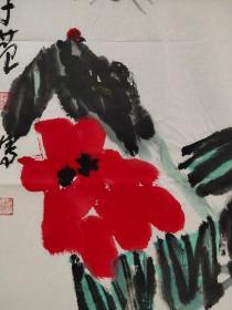 【崔子范】大写意花鸟画《春花 猫咪》一幅,45厘米//68厘米,喜欢的私聊