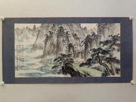 保真书画,苏州名宿,程质清先生画一幅,尺寸50×99cm,原装裱镜心。