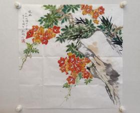 保真书画,金纳《暖风》花鸟画一幅,尺寸68.5×68.5cm。金纳,清华大学美术学院教授,博士研究生导师,当代优秀女画家。