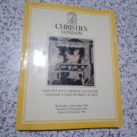 CHRISTIES 1983年伦敦佳士得 少见厚册《重要的中国漆器,瓷器玉器等拍卖图录》私人藏书,收藏佳品!
