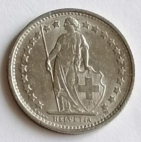 1971年瑞士1/2瑞郎硬币保真