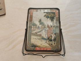 民国老物件 老镜子  内有五彩版画(荐诸葛)三井洋行制作  品相如图