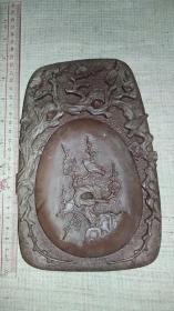 回流老文房   紫金易水砚    手工雕  带盖大砚台1件