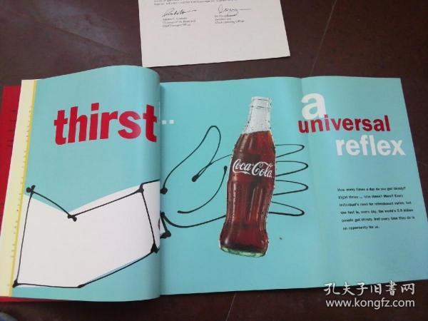 可口可乐专题文献收藏,73页,内有可口可乐文献数据有雪碧,芬达图片!厚纸张精美印刷,无版权!英文版!尺寸22.5*28.5厘米!90年代印刷!Coca-Cola literature, 73 pages, Sprite, fendatu! Exquisite printing, no copyright! Size 22.5*28.5cm