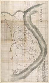 古地图1875 上海县城厢租界全图 清光绪元年。纸本大小81*138厘米。宣纸艺术微喷复制。