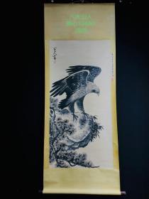 八大山人画鹰,纸本立轴包手绘,画工精湛,实物拍摄,J529