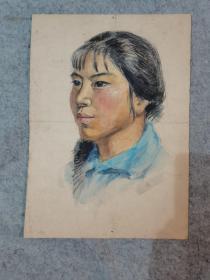 七八十年代老旧水彩画人物无签名 原稿真迹(著名画家,西安美院高材生作品)