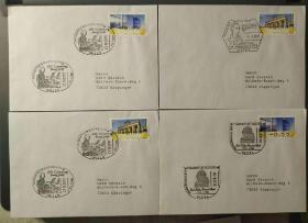 德国欧元面值电子票盖音乐专题纪念邮戳实寄封 14枚