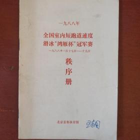 《全国室内短刀速度滑冰鸿雁杯冠军赛秩序册》1988年 北京首都体育馆 私藏 书品如图