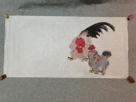 无款国画手稿 鸡 手绘原稿 四尺整张软片画心
