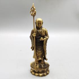 黄铜铜器佛像摆件高14厘米