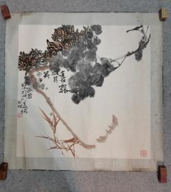 四川著名画家 秦天林 老旧国画镜片 原稿手绘真迹 永久保真