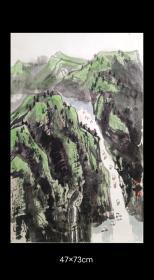 中国当代著名彩墨名家 赵准旺作品《巫江春雨后》