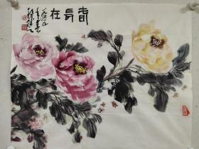 江西十老之一【梁邦楚】花鸟画《春长在》一幅,46厘米//57厘米