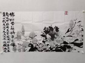 保真书画,常保立《水墨花卉》一幅,尺寸68×136.5cm(印章是作者手绘的)。北京故宫著名画家,皇宫最后的摹画官,传承古法绘画的最后守望者。