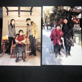 B翻译家、萧乾的夫人文洁若  合影照片一组两张