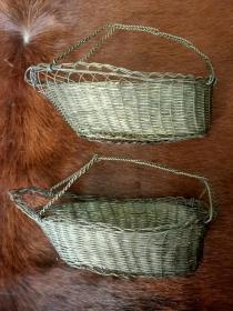 民国白铜片、丝手工编织提篮一对