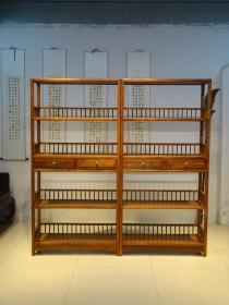 花梨木文房书架,可做酒架        文房书架,整体造型高贵典雅,皮壳红润 完整牢固。 木质 花梨木木。尺寸  单个宽100厘米,高  200米 厚  36厘米。         适合  书房  雅室  会所,……