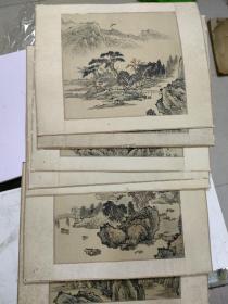 民国绢本画册  8张合售