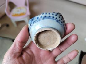 瓷片标本满百包邮,清代小花青花小碗瓷片标本