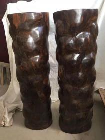 黄金檀木 花墩一对 产于海楠