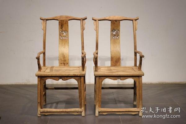 清代,榆木雕麒麟四出头椅子一对。高114 宽45 长56