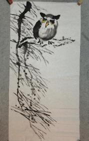 国画猫头鹰 四尺整张 无款画心软片原稿手绘真迹