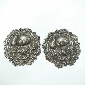 清代大号 银帽花一对 长命富贵缠枝花叶绕边八角形帽饰(包老保真)直径6.8cm