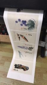 齐白石 花果虫草册8开。每开大小约34.5*21.7厘米。宣纸艺术微喷复制