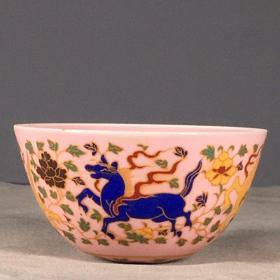 明粉彩动物图茶杯一对