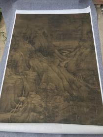 董源 溪岸图新版。纸本大小109.02*220.34厘米。宣纸艺术微喷复制。500元包邮