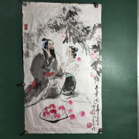 著名连环画,插图画家赵宝林水墨国画作品。2.6平尺。保真
