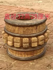 百年老榆木风化轴头两个,风化漂亮,四道铁箍,全品包老,可做花架,装修极品,寓意财源滚滚来,通走